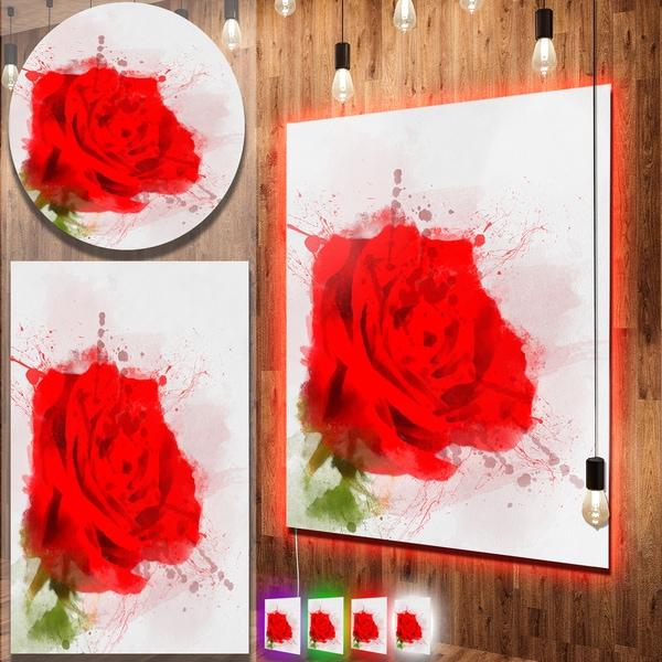 Designart 'Bright Red Watercolor Rose Sketch' Floral Aluminium Art Print