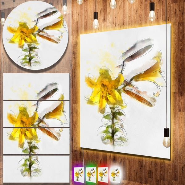 Designart 'Yellow Tulip Stem with Leaves' Extra Large Floral Metal Wall Art