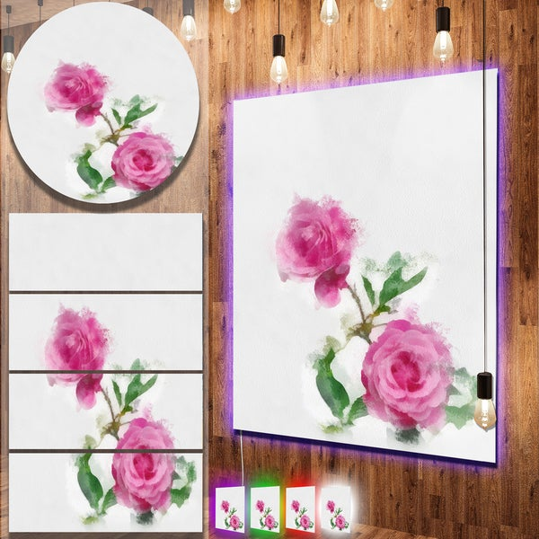 Designart 'Rose Stem with Pair of Roses' Flower Aluminium Wall Art