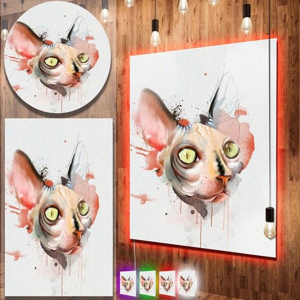Designart 'Red Faced Cat Watercolor Sketch' Large Animal Metal Wall Art