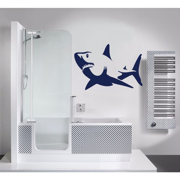 Shark Ocean Wall Decal Vinyl Stickers Decals Animal Wall Vinyl Sticker Decal Size 22x30 Color Blue