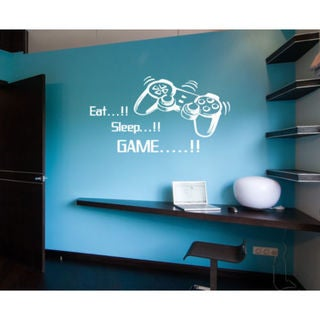 Eat Sleep Game Kids Room Children Stylish Wall Art Sticker Decal size 33x45 Color Black