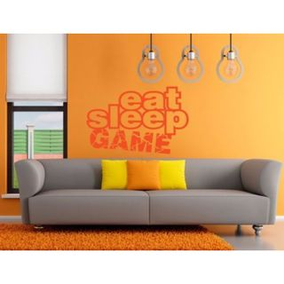 Eat Sleep Game Kids Room Children Stylish Wall Art Sticker Decal size 48x57 Color Black