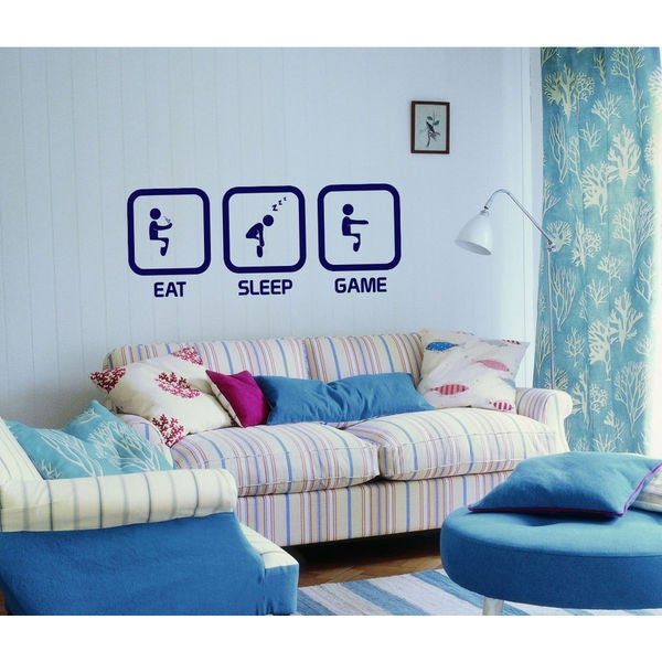 Eat Sleep Game Kids Room Children Stylish Wall Art Sticker Decal size 22x35 Color Blue