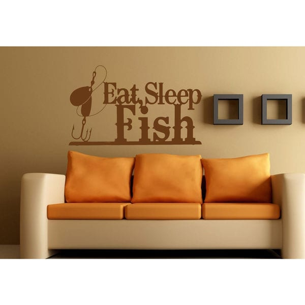 Eat Sleep Fish Kids Room Children Stylish Wall Art Sticker Decal Size 22x30 Color Brown