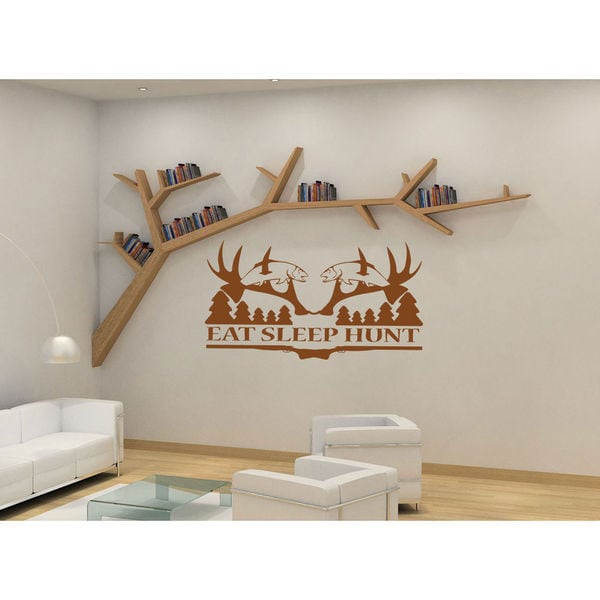 Eat Sleep Hunt Kids Room Children Stylish Wall Art Sticker Decal Size 22x30 Color Brown