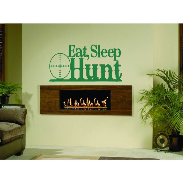 Eat Sleep Hunt Kids Room Children Stylish Wall Art Sticker Decal Size 22x30 Color Green