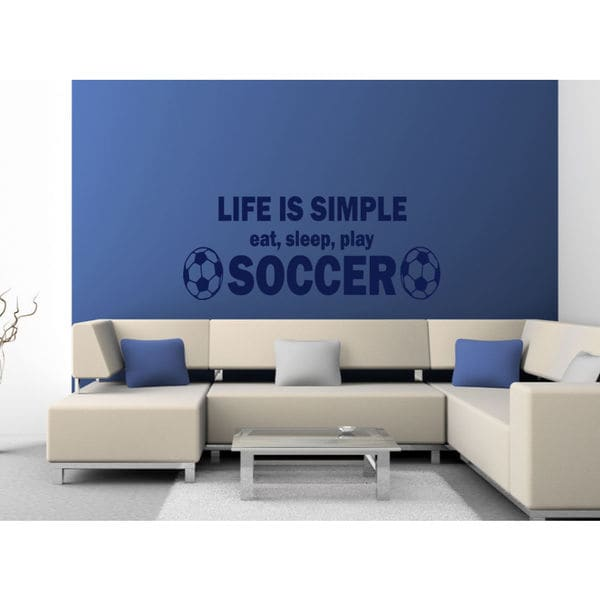 Eat Sleep Play Soccer Kids Room Children Stylish Wall Art Sticker Decal size 22x35 Color Blue