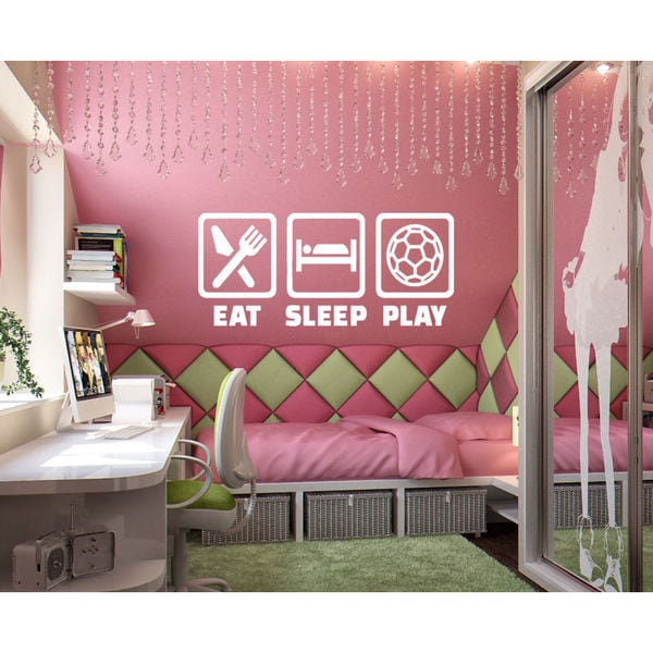Eat Sleep Play Soccer Kids Room Children Stylish Wall Art Sticker Decal size 22x35 Color White