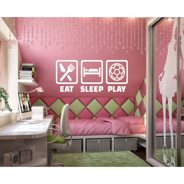 Eat Sleep Play Soccer Kids Room Children Stylish Wall Art Sticker Decal size 22x35 Color Black