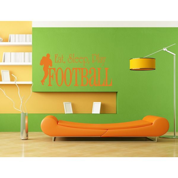 Eat Sleep Play Football Kids Room Children Stylish Wall Art Sticker Decal size 22x35 Color Orange