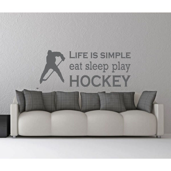 Eat Sleep Play Hockey Kids Room Children Stylish Wall Art Sticker Decal Size 22x30 Color Grey