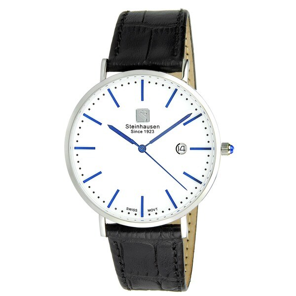 "Steinhausen Men's S0520 Classic Burgdorf Swiss Quartz ""Blue Label"" Watch With Black Leather Band 22644244"