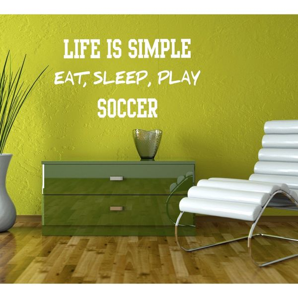 Eat Sleep Play Soccer Kids Room Children Stylish Wall Art Sticker Decal Size 22x30 Color White