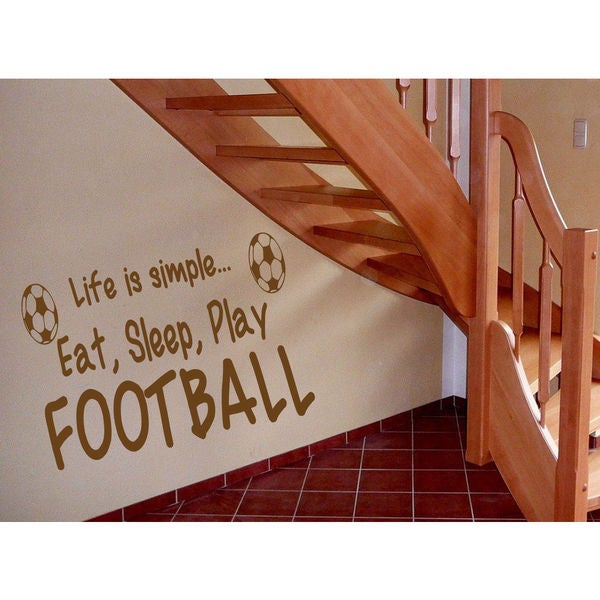 Eat Sleep Play Football Kids Room Children Stylish Wall Art Sticker Decal size 22x26 Color Brown