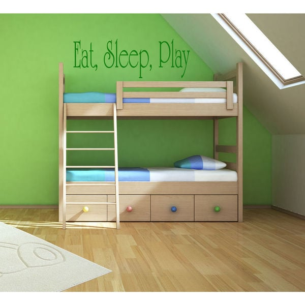 Eat Sleep Play Kids Room Children Stylish Wall Art Sticker Decal size 22x35 Color Green