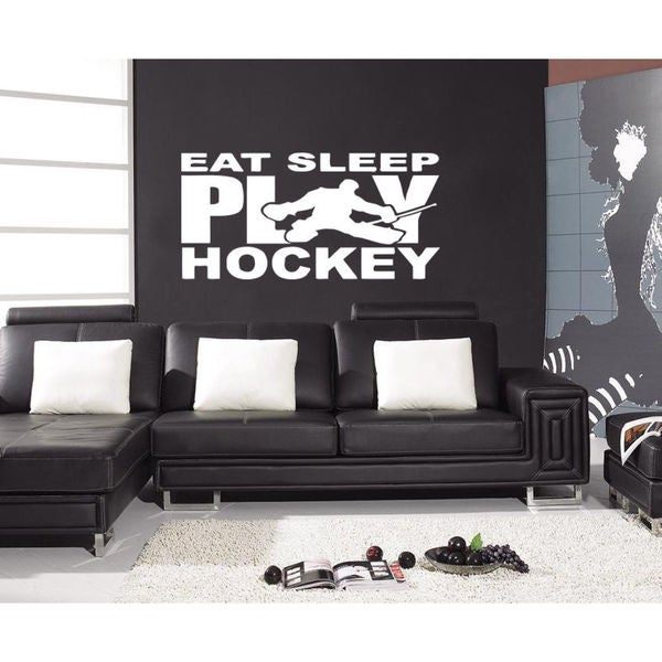 Eat Sleep Play Hockey Kids Room Children Stylish Wall Art Sticker Decall size 48x65 color black