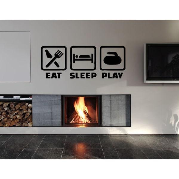 Eat Sleep Play Kids Room Children Stylish Wall Art Sticker Decal size 48x76 Color Black