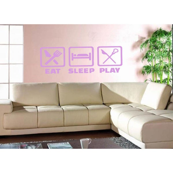Eat Sleep Play Kids Room Children Stylish Wall Art Sticker Decal size 22x35 Color Purple