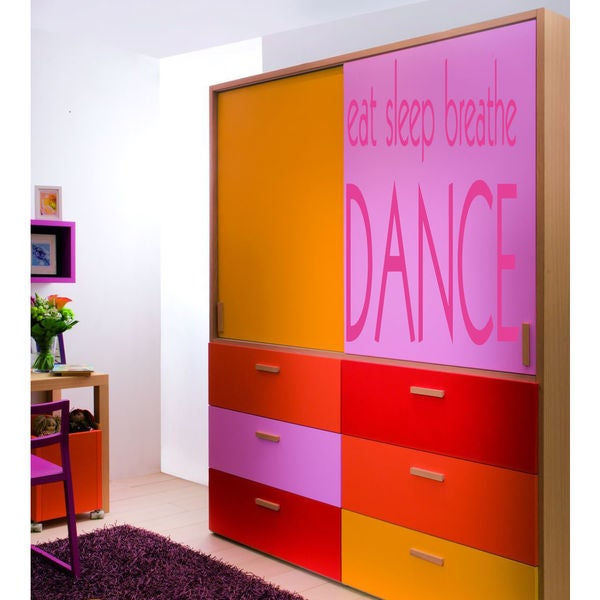 Eat Sleep Play Dance Kids Room Children Stylish Wall Art Sticker Deckal size 44x52 Color Black
