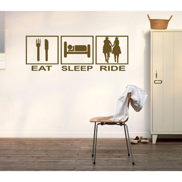 Eat Sleep Ride Kids Room Children Stylish Wall Art Sticker Decal size 22x35 Color Green