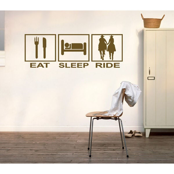 Eat Sleep Ride Kids Room Children Stylish Wall Art Sticker Decal size 48x76 Color Black