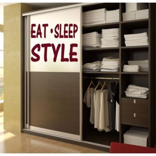 Eat Sleep Style Kids Room Children Stylish Wall Art Sticker Decal size 48x48 Color Black