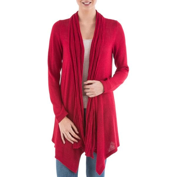Handcrafted Acrylic Alpaca Blend 'Red Waterfall Dream' Cardigan Sweater (Peru)