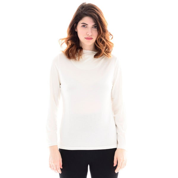 Trisha Tyler Long Sleeve Tulip Neck Knit Top