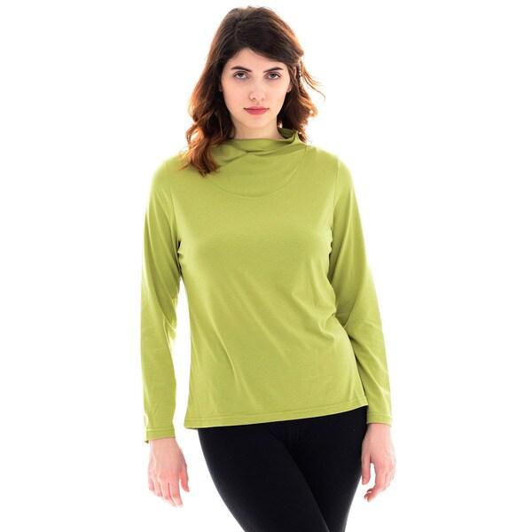 Trisha Tyler Women's Green Long-sleeve Tulip-neck Knit Top