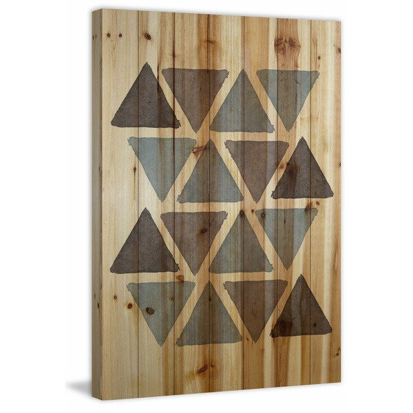Marmont Hill - 'Blue Shades Triangles' by Shayna Pitch Painting Print on Natural Pine Wood