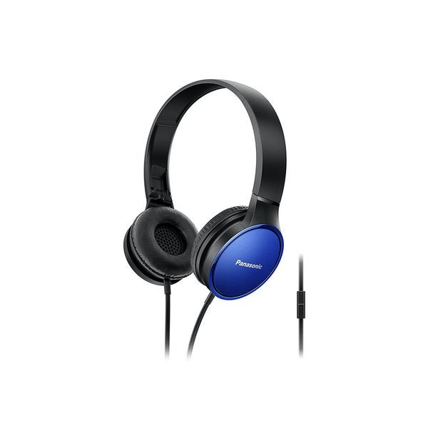 Panasonic Over-the-Ear Stereo Headphones RP-HF300M-A (Blue) Integrated Mic and Controller