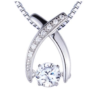 Sterling Silver Created White Sapphire Dancing Stone Pendant 22659898