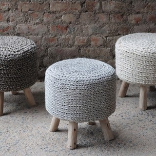 Montana Handcrafted Boho Wool Ottoman Stool by Christopher Knight Home