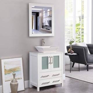 Vanity Art 24-inch Single Sink Bathroom Vanity Set 2 Drawers, 1 Cabinet, 1 Shelf, Quartz Top with Free Mirror