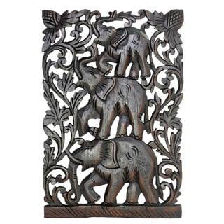 Joyful Circus Elephant Family Handmade Relief Panel Wood Wall Art 12x18 (Thailand)