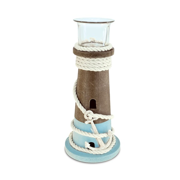 Puzzled Evian Multicolor Wood Large Handcrafted Nautical Candleholder 22666923