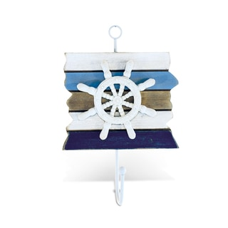 Puzzled Multicolored Wood Handcrafted Atlantic Ship Wheel Nautical Decor