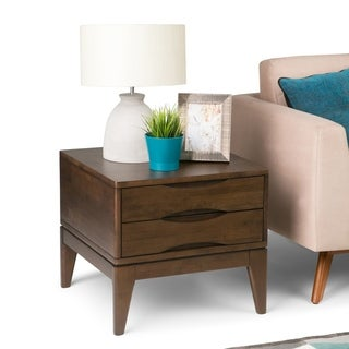 WYNDENHALL Pearson SOLID HARDWOOD 22 inch Wide Square Mid Century Modern End Side Table in Walnut Brown - 22 W x 22 D x 20 H