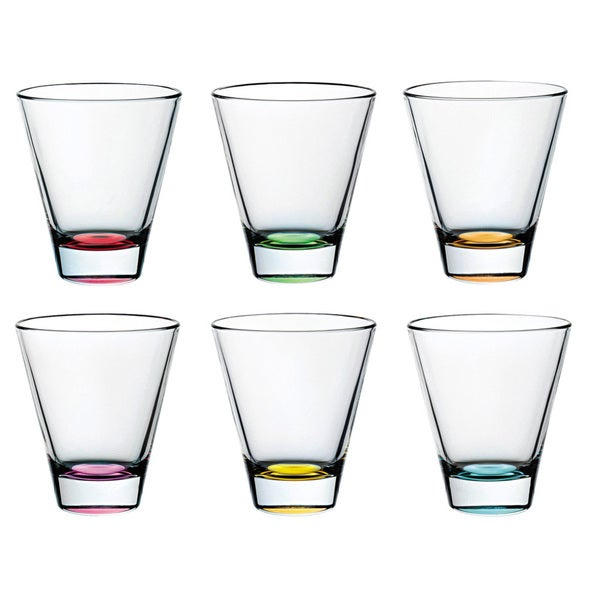 Majestic Gifts Assorted Color Glass 10.5-ounce 6-piece Double Old Fashioned Tumbler Set 22785514