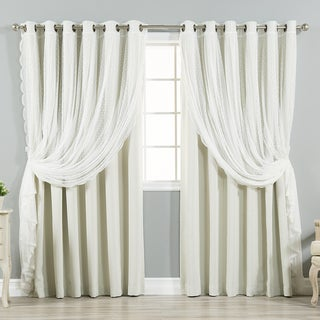 "Aurora Home Mix & Match Extra Wide Blackout and Dot Lace Sheer 2 Piece Curtain Panel Set - 52""W x 84""L"