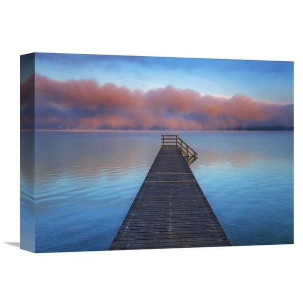 Global Gallery Frank Krahmer 'Boat ramp and fog bench, Bavaria, Germany' Stretched Canvas Artwork 22787453