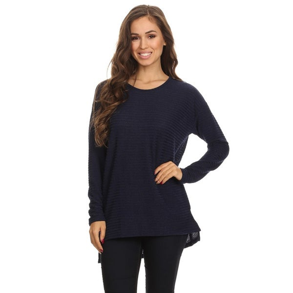 Women's Navy Ribbed Knit Top 22788988
