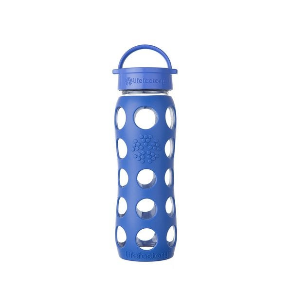 Lifefactory Blue Silicone and Glass Water Bottle With Leakproof Cap 22804132