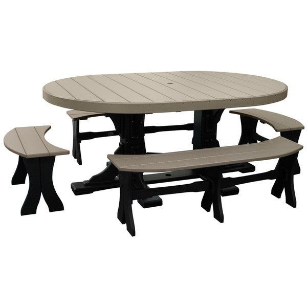Poly Outdoor 4x6 Foot Oval Table and 4 Benches 22809220