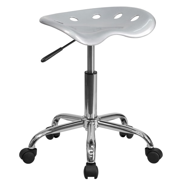 Eller Vibrant Silver Polymer Tractor Seat Stool with Chrome Base 22828296