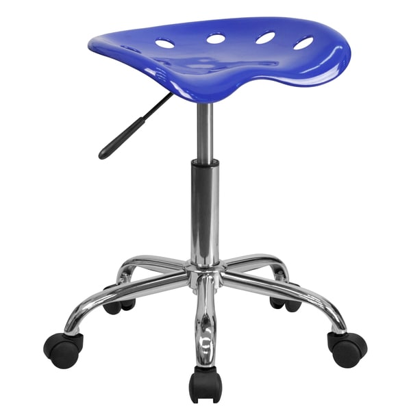 Eller Vibrant Nautical Blue Chrome-based Tractor Seat Stool 22828308