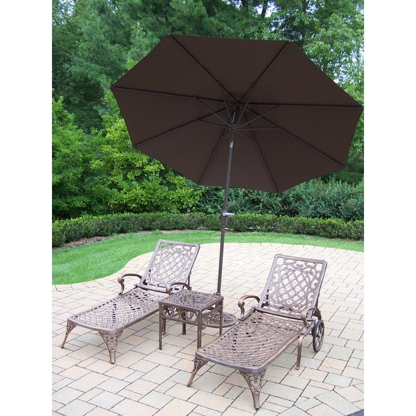 Dakota Cast Aluminum Lounge Set with 2 Wheeled Chaise Lounges, Square Side Table and Brown Umbrella with Stand 22832195