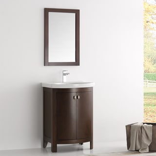 Fresca Greenwich Brown Wood/Veneer 24-inch Antique Traditional Bathroom Vanity