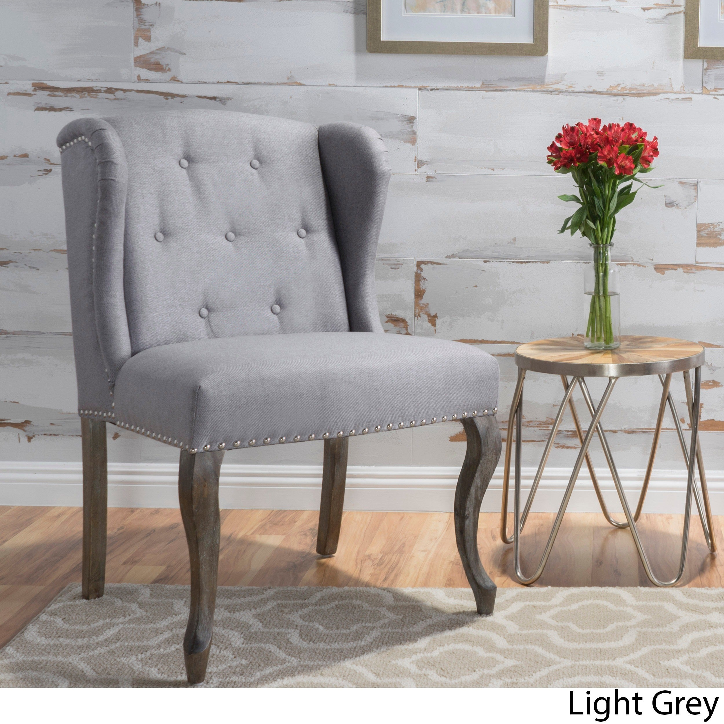 Niclas Wing Back Studded Fabric Accent Chair by Christopher Knight